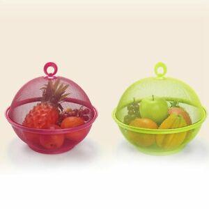 1X(Random color Mesh Iron Fruit Basket Storage Kitchen Rack Storage Dining