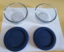 Set Of Two Anchor Hocking Clear Glass  One Cup Food Storage Containers with Lids