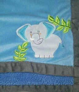 Baby Boy Elephant Blue Sherpa Blanket Grey Embroidered Unbranded 30x40 EUC