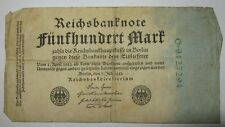 Geld Schein Reichsbanknote 500 Reichsmark Berlin 1922 ...#A460