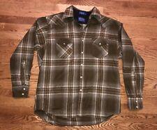 PENDLETON MENS Wool HIGH GRADE Western CANYON SHIRT BROWN PLAID XL PEARL SNAPS
