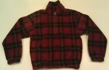 Woolrich Plaid Thick Fleece 1/2 Zip Pullover Jacket Heavyweight Mens Small S Red