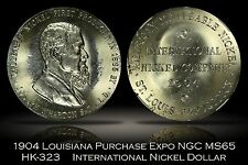 1904 Louisiana Purchase Expo International Nickel Dollar HK-323 NGC MS65 Flashy