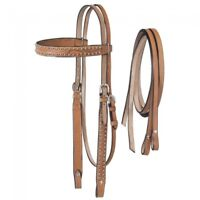 Western Natural Leather Set of Hand Carved Headstall and Split Reins
