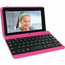 "2 in 1 Tablet Laptop 7"" Screen Quad-Core 16GB Android With Keyboard Case Pink"