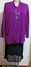 LADIES PURPLE MILLER'S WRAP STYLED CARDIGAN WITH POCKETS SIZE XL OR 16