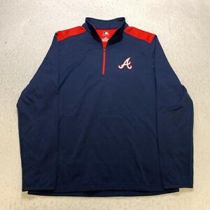 MLB Atlanta Braves Half Zip Pullover Size L Blue Long Sleeve Baseball Mens