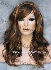 Glamorous Long Natural Wavy Wig Auburn Brown  Mix Full Bangs JSPP RS30