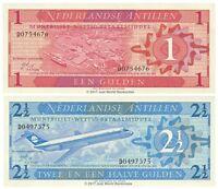 Netherlands Antilles 1 + 2 1/2 Gulden 1970 Set of 2 Banknotes 2 PCS UNC