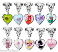 20PCs Glass Heart Dangle Beads Mixed Fit Charm Bracelet 10 Styles