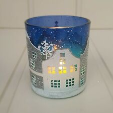 Large blue Scandinavian Christmas snowy street scene candle holder Gisela Graham