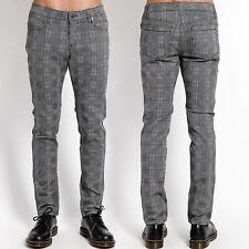 Tripp Glen Plaid Punk Goth Mod Mens Rocker Fit Skinny Jeans Pant Grey NEW W26-38