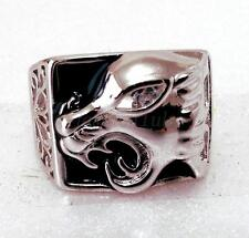 Men Big Leopard Charm Ring White Gold Plated Simulated Diamond  Size T UK