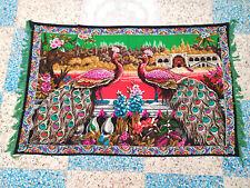 """Rare Antique Velvet Peacock Tapestry Wall Hanging Art Home Decor Vtg 59"""" x 38"""""""