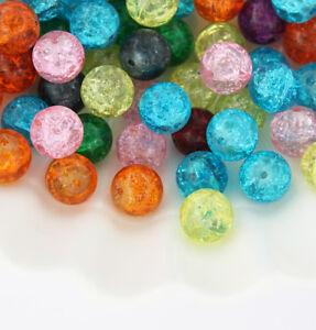 80 Sea green crackle glass beads 10mm B235