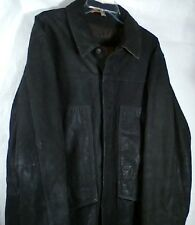 Timberland Genuine Leather Dark Brown Weather Gear Jacket Coat Button Front L