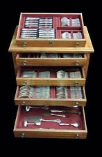 ODIOT STERLING SILVER FLATWARE, CANTEEN, CABINET, 174pcs., 18 SVG pc, POST 1940