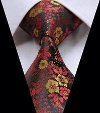 Cravatta da Uomo in Rosso Giallo Oro & Marrone Nero-Floreale Formale Matrimonio Paisley Regalo