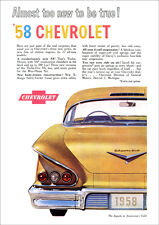 CHEVROLET 58 IMPALA RETRO A3 POSTER PRINT FROM CLASSIC ADVERT 1958
