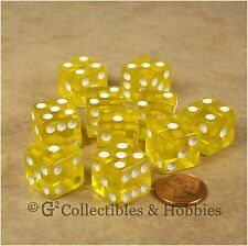 NEW 10 Transparent Yellow D6 6 Sided RPG Bunco Game Dice Set 16mm 5/8 inch