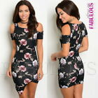 New Floral Off Bare Cold Shoulder Mini Dress Party Clubbing Size 6 8 10 XS S M