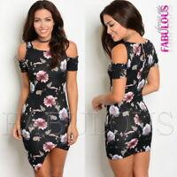 New Floral Off Bare Cold Shoulder Mini Dress Party Clubbing Size 6 8 10 XS S M