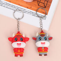 1Pair 2021 Year of the Ox Keychain Cow Doll Keychain Car Bag Pendant Keyring IS