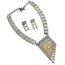 Indian Traditional Necklace Set With Earrings Dual Tone Silver Fashion Jewelry