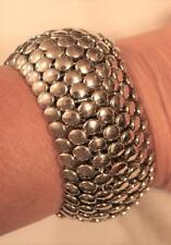 Striking Shiny Layered Round Nail Head Silvertone Stretch Cuff Bangle Bracelet