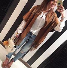 """Zara """" Sold Out"""" Fringed Suede Look Studded Boho Kimono Jacket Size M"""