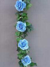 8FT Artificial Ivy& Light Blue Rose Garland Wedding/Festival Decoration