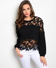 Black Crochet Pullover Long Sleeve Top w/solid back. Size Small & Large.