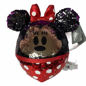 """Disney Parks Minnie Mouse Reversible Flip Sequin Plush 13"""" Round'ish Ball New"""