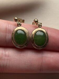 Beautiful Vintage UK Hallmarked 9ct Gold & Jade Oval Drop Earrings Heavyweight
