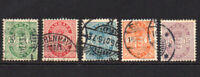 Denmark 5 Stamps c1882-95 Used (7399)