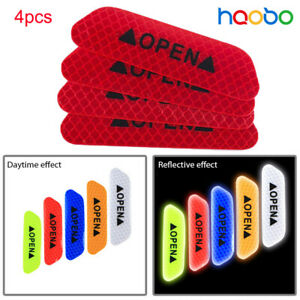 4x Car Open Sticker Reflective Tape Warning Safety Auto Decal  Sticker Red