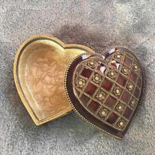 Bombay Company Burgundy/Crystal Flowers Heart Jewelry Box*Nib!*Retail: $29.00