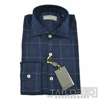 NWT - CANALI Current 1934 Blue Plaid Check COTTON Casual Dress Shirt - LARGE