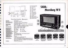 Servizio Manuale di Istruzioni per Saba Meersburg W II anno costr. 1952/53