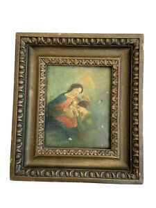 Old Master German Austrian Oil Painting Tin Mother Child Antique Christianity