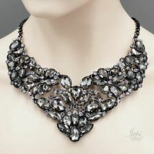 Gorgeous Smokey Black Crystal Rhinestone Chain Bib Statement Necklace 4144 Alloy