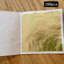 24K *100 Gold Leaf Sheets. For Art Crafts Design Gilding Framing Scrap HOT NEW