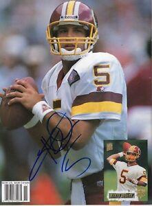 Heath Shuler Washington Redskins Signed Beckett Full Magazine Back Cover COA