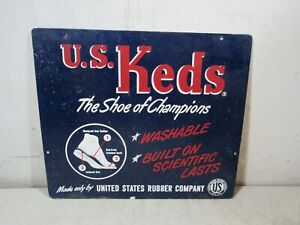 Vintage Early 1900's US Keds Shoe Of Champions Double Sided Metal Sign Sneakers