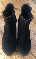 Ladies Black Suede Chunky Boots Size 5