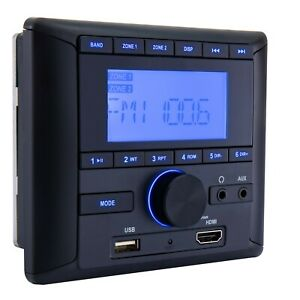RecPro RV Stereo AM/FM Radio/Bluetooth/Aux-In Sound System Receiver Wall Mount