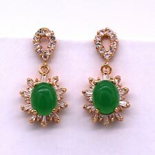 Fashion 18K Gold Plated Jade Crystal Zircon Stud Earrings for Women/Girls