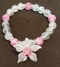 Flower Beaded Elasticated Bracelet pink