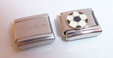 FOOTBALL 9mm Italian Charm & 1x Genuine Nomination Plain Link SOCCER BALL Sports