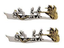 2 Feuerwehr Krawattenklammern Krawattennadeln Löschzug bicolor NM0019 + Boxen